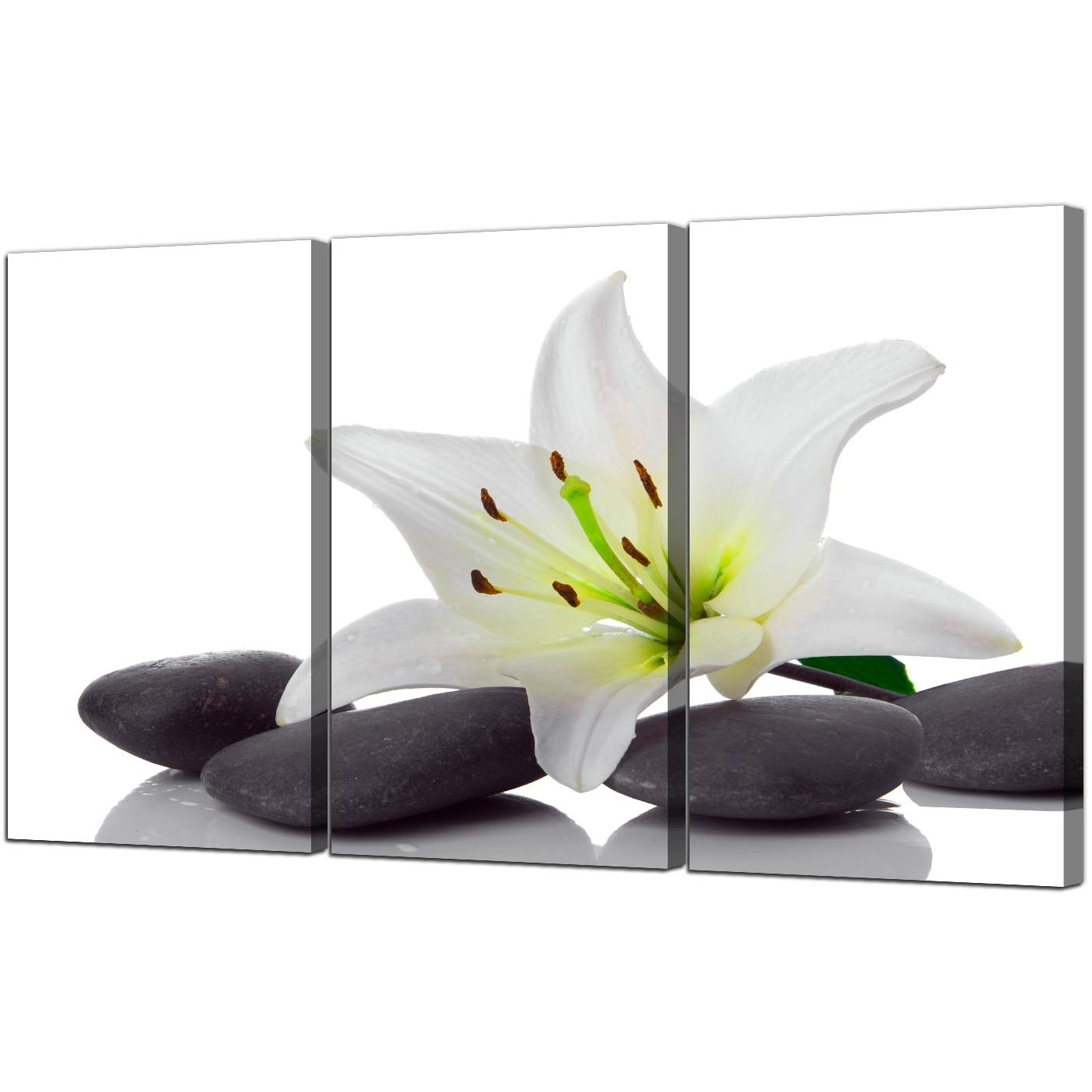Bathroom Canvas Wall Art Pertaining To Favorite Extra Large Lily Canvas Wall Art 3 Panel For Your Bathroom (View 2 of 15)