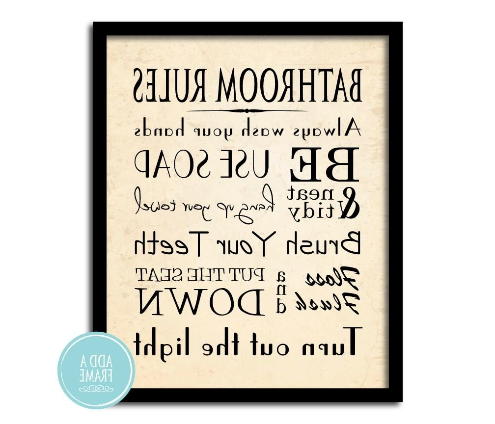 Bathroom Wall Art – Word Art Print – Bathroom Rules – Typography Art With Current Bathroom Rules Wall Art (View 12 of 15)