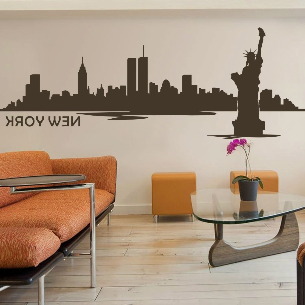 Battoo New York Wall Decor City Skyline Silhouette Wall Decal The Within Well Known New York City Wall Art (View 10 of 15)