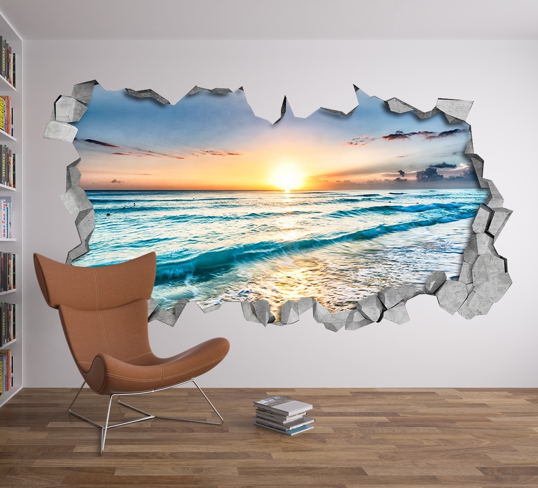 Beach View 3D Wall Art - Moonwallstickers intended for Well-known 3D Wall Art