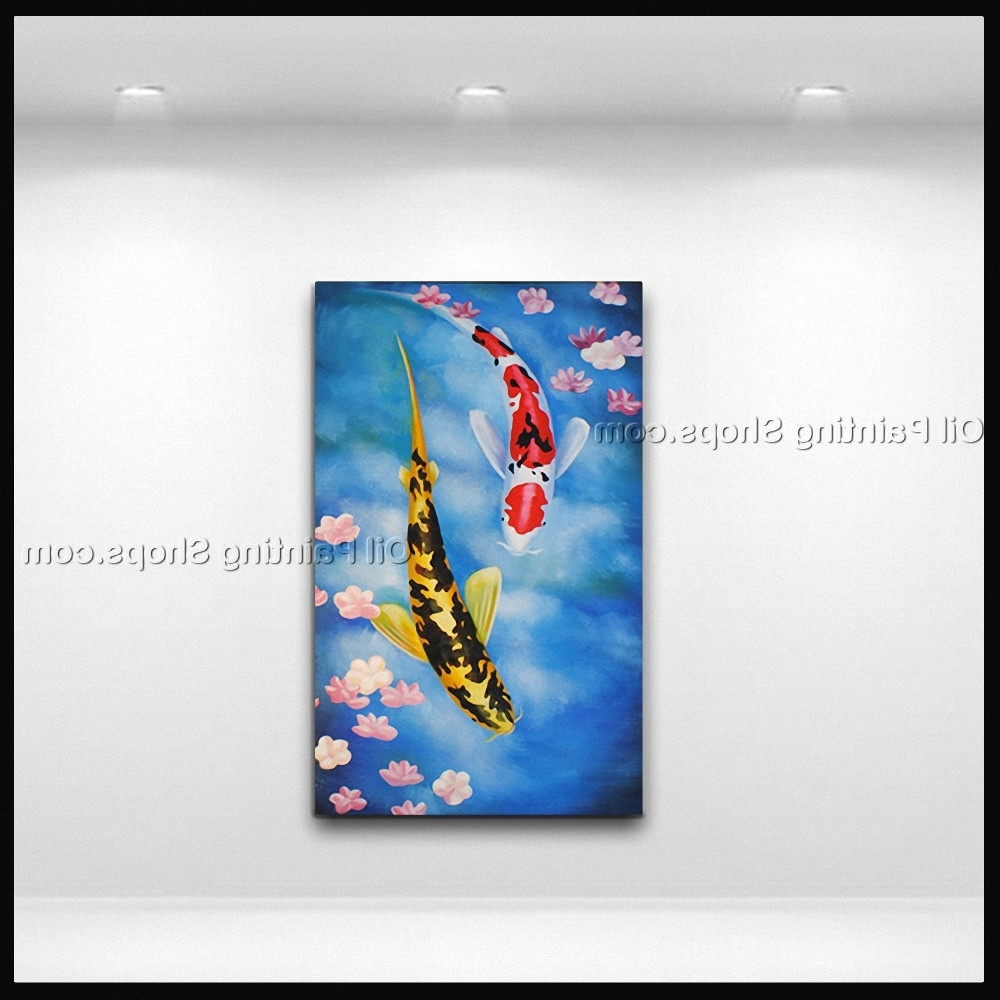Beautiful Koi Fish Painting Hand Made Wall Art Living Room – Super Tech Within 2018 Fish Painting Wall Art (View 10 of 15)