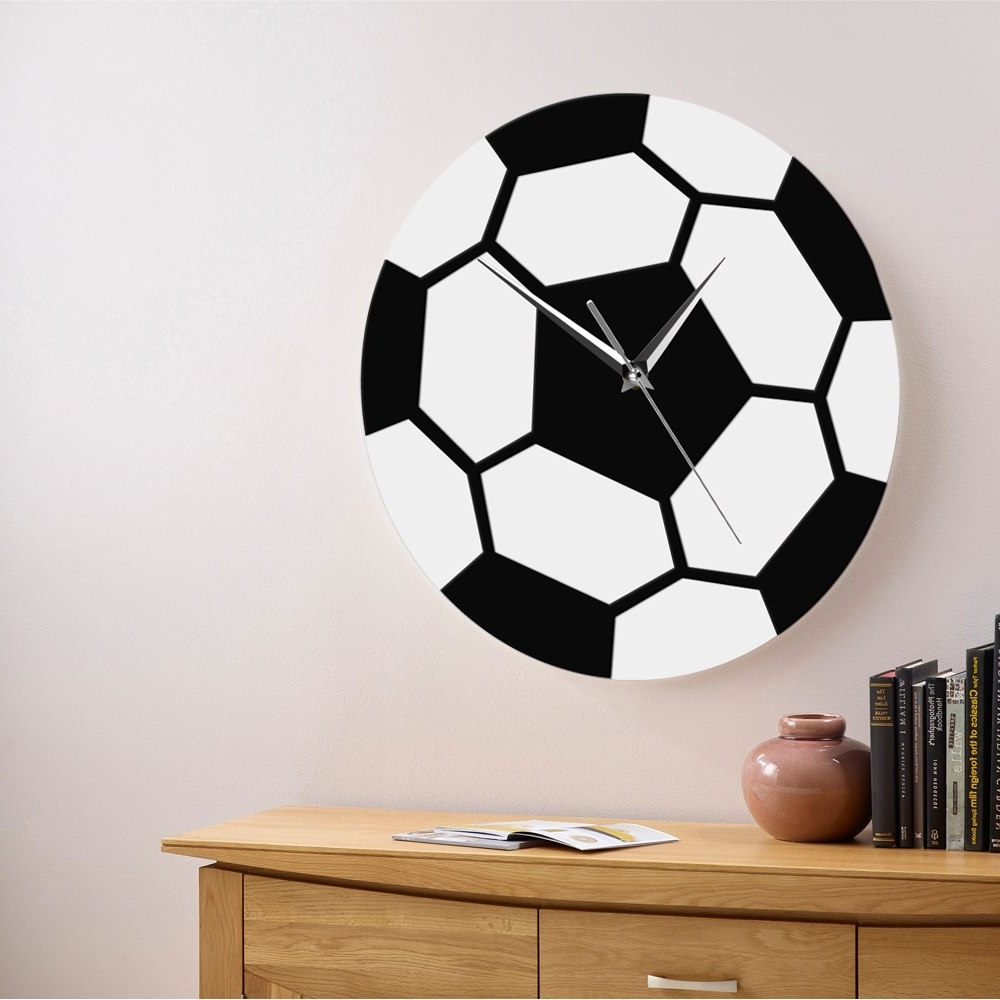 Best And Newest 1Piece 3D Soccer Wall Art Decorative Acrylic Modern Wall Clock Home Within Soccer Wall Art (View 4 of 15)