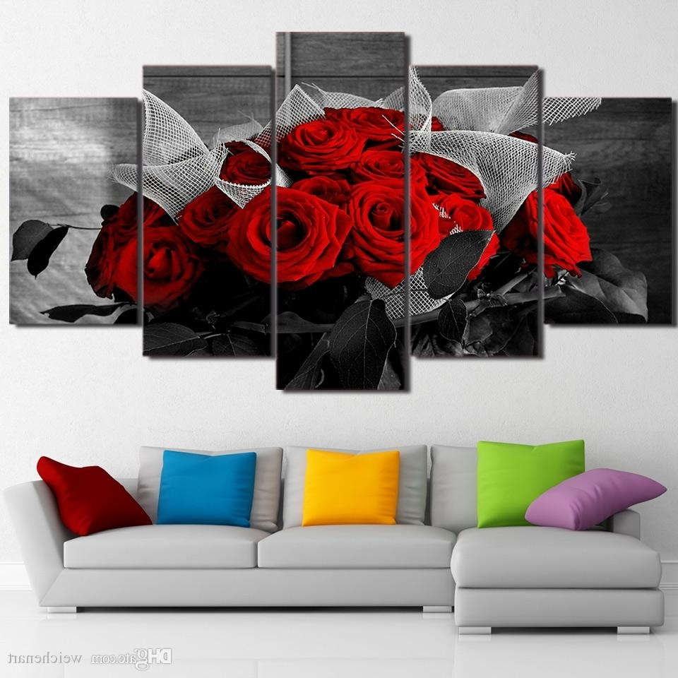 Best And Newest 2018 5 Panel Wall Art On Canvas Beautiful Red Rose Modular Large Pertaining To Large Framed Canvas Wall Art (View 3 of 15)