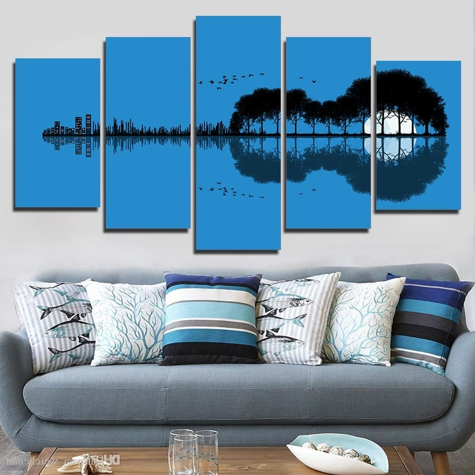 Best And Newest 2018 5 Panel Wall Art On Canvas Tree Guitar Reflection Wall Picture With Regard To 5 Panel Wall Art (View 6 of 15)
