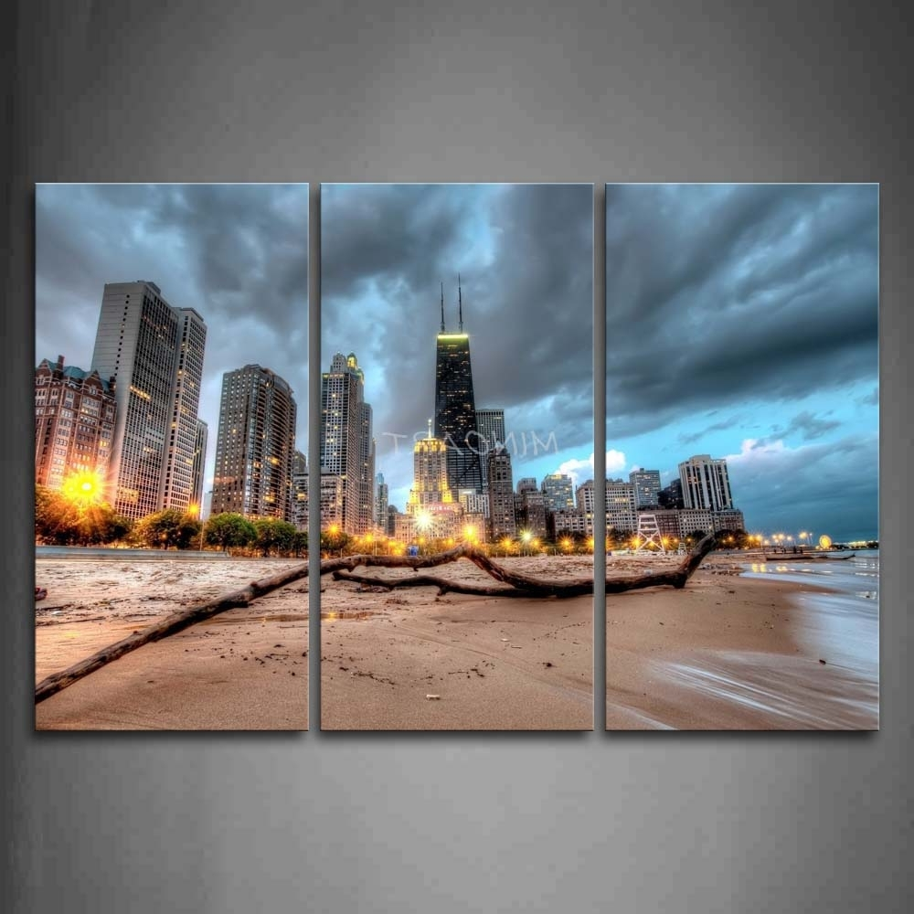Best And Newest 3 Piece Wall Art Painting Chicago Trunk On Beach Near Modern Regarding Chicago Wall Art (View 1 of 15)