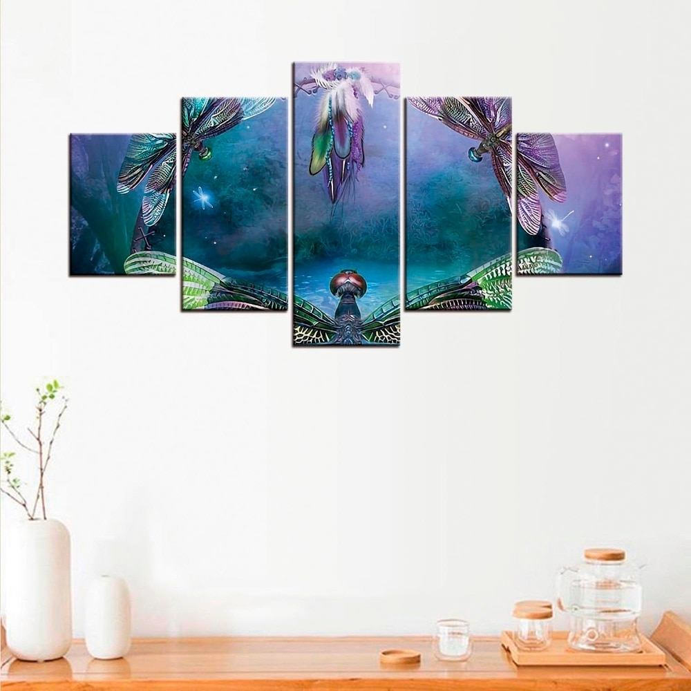 Best And Newest 5 Pcs Dragonfly Canvas Poster Minimalist Art Canvas Painting Wall Throughout Dragonfly Painting Wall Art (View 4 of 15)