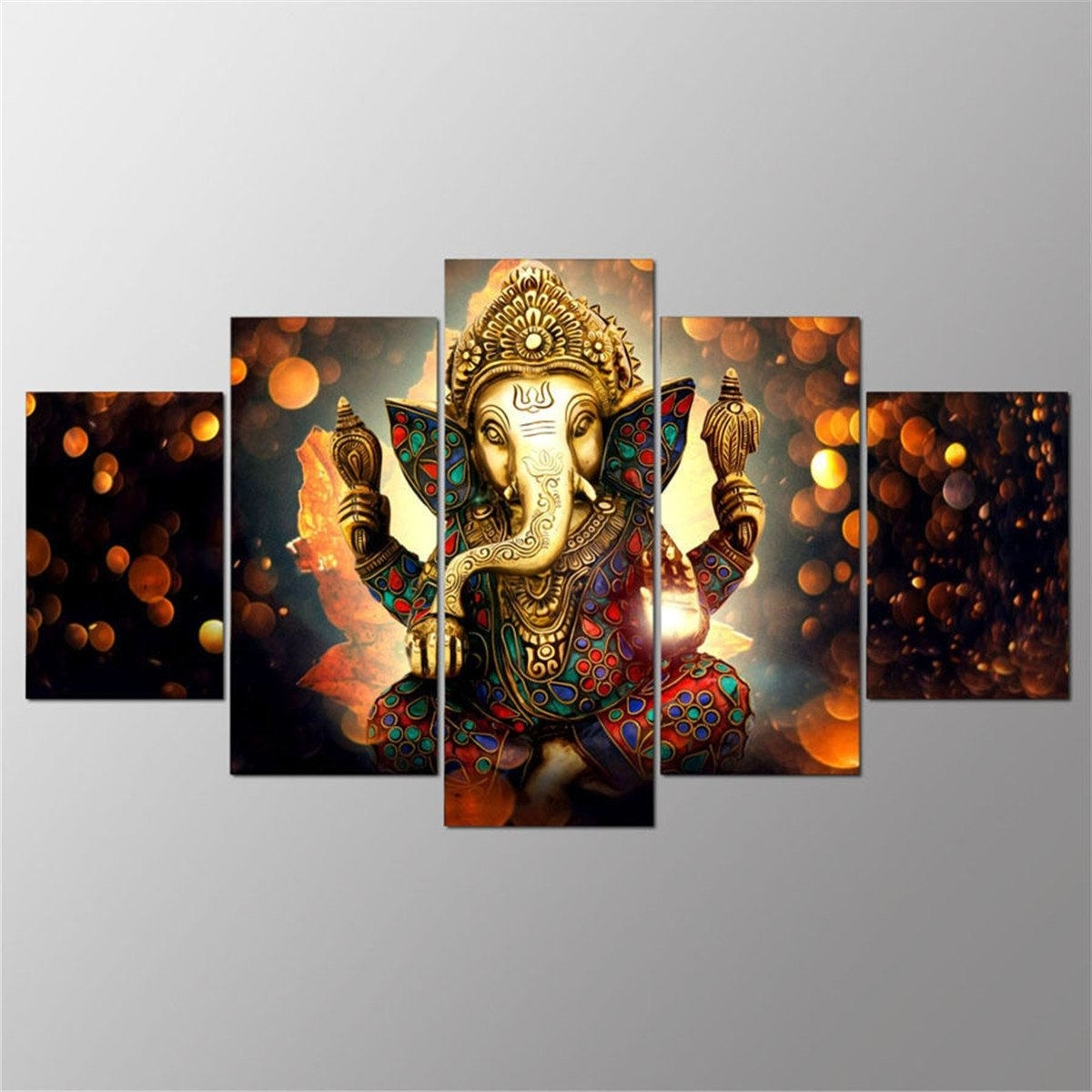 Best And Newest 5Pcs Ganesha Painting Abstract Print Modern Canvas Wall Art Poster With Modern Canvas Wall Art (View 3 of 15)