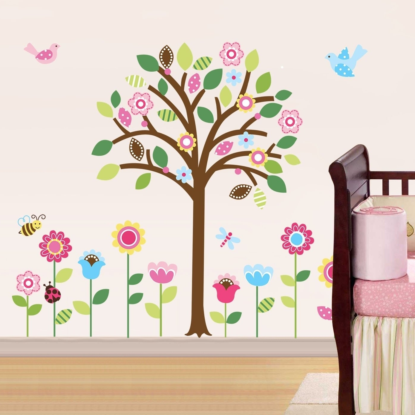 Best And Newest Amazon: Pretty Pastel Garden Giant Peel & Stick Wall Art Sticker Intended For Baby Wall Art (View 5 of 15)