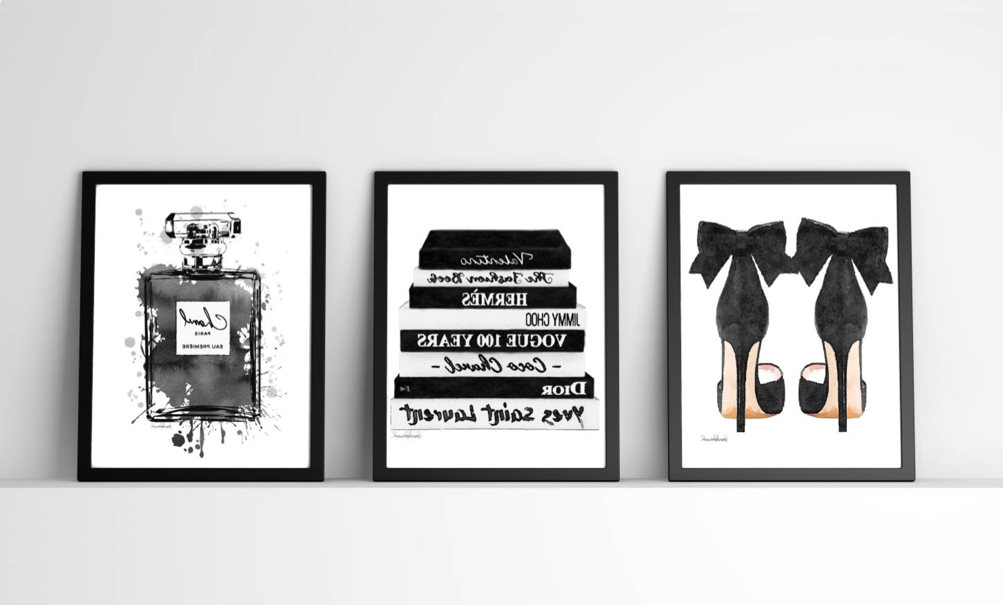Best And Newest Black And White, Fashion Wall Art, Fashion Watercoloramanda Within Fashion Wall Art (View 4 of 15)