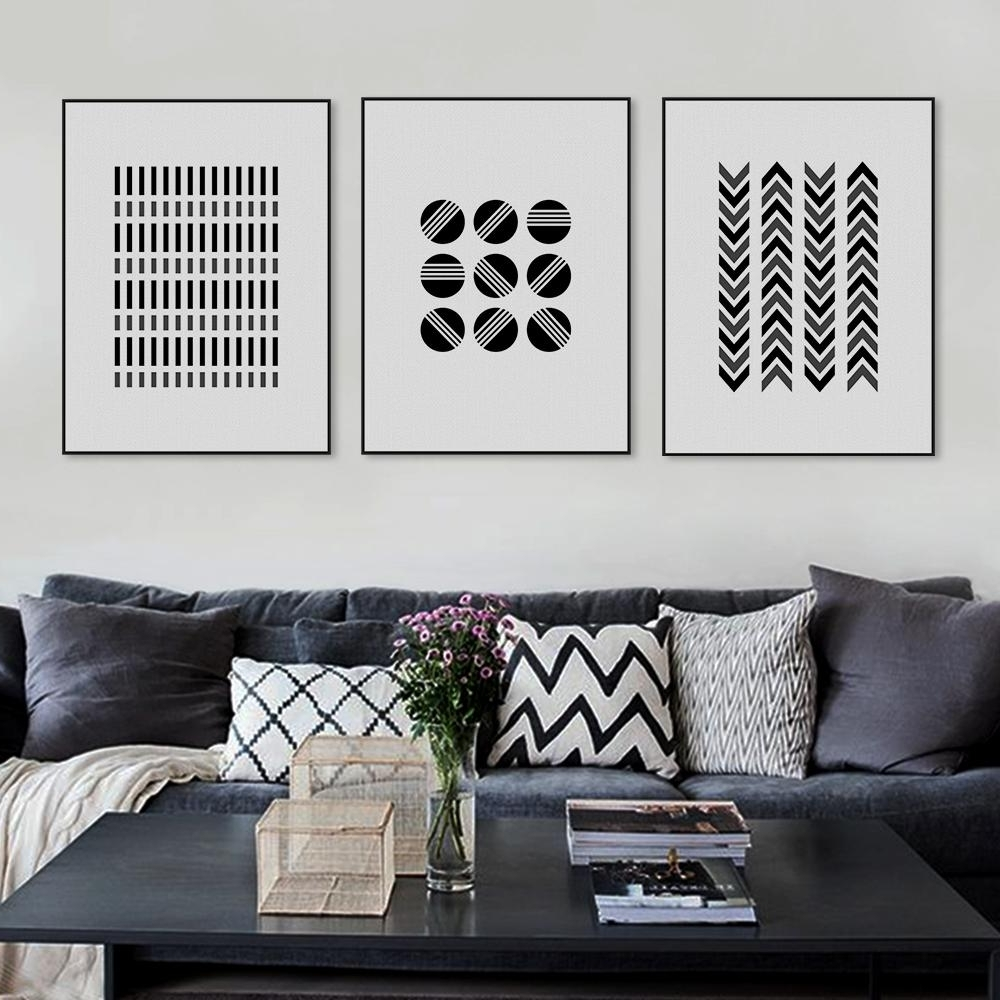 Best And Newest Black White Modern Original Abatract Geometric Shape Canvas A4 Art Throughout Black And White Large Canvas Wall Art (View 13 of 15)