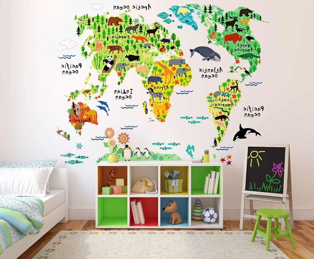 Best And Newest Buy Kids Educational Animal World Map Wall Stickers Eveshine Peel Pertaining To Wall Art Stickers World Map (View 9 of 15)