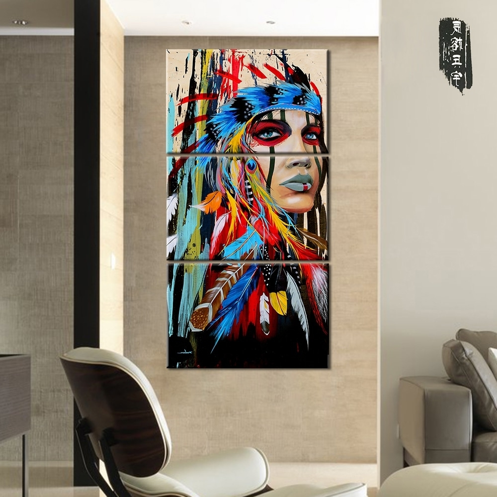 Best And Newest Canvas Painting Native American Indian Girl Feathered Modern Room For Native American Wall Art (View 4 of 15)