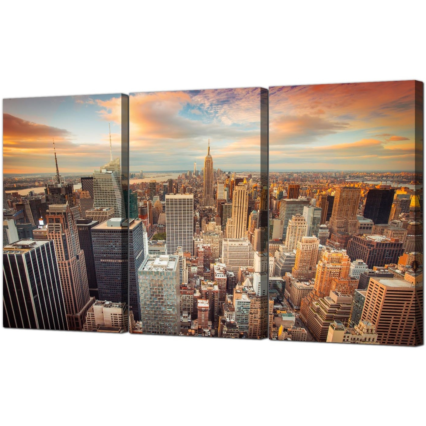 Best And Newest Cheap New York Skyline Canvas Wall Art 3 Panel For Your Living Room For Nyc Wall Art (View 2 of 15)