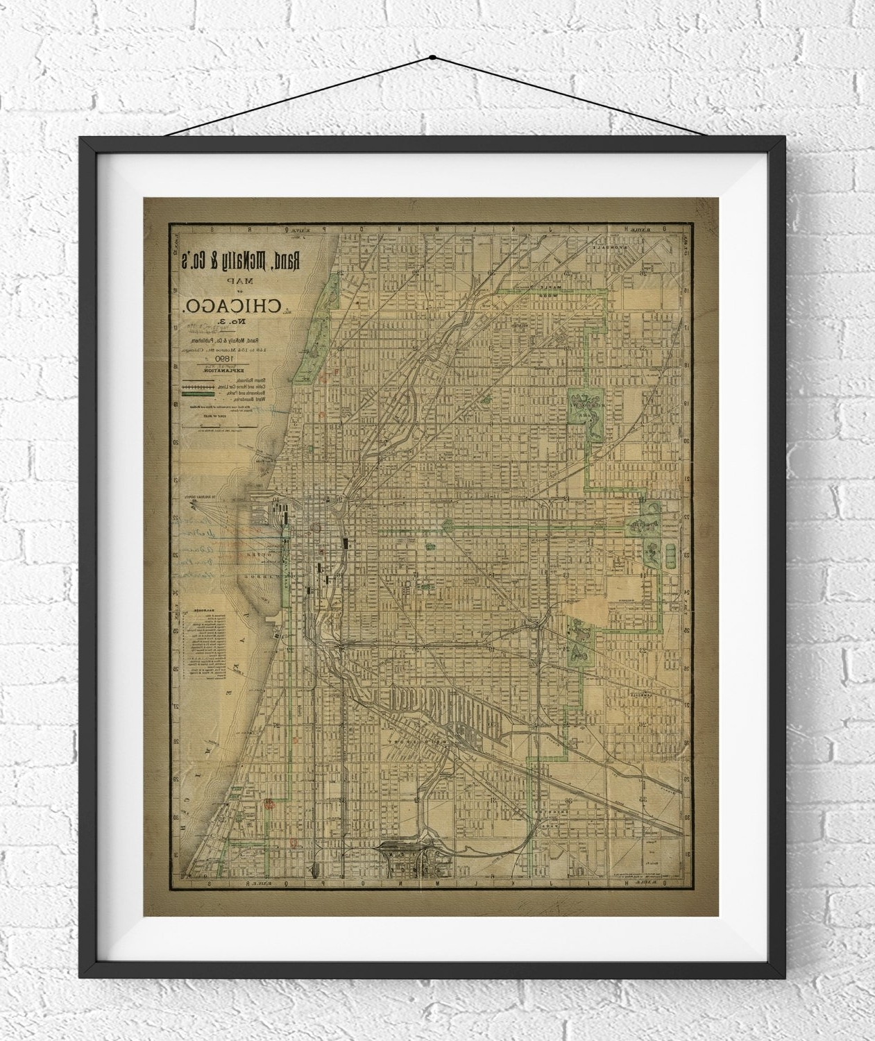 Best And Newest Chicago Map Wall Art For Chicago Map Print, Vintage Map Art, Antique Map, Chicago Wall Art (View 1 of 15)
