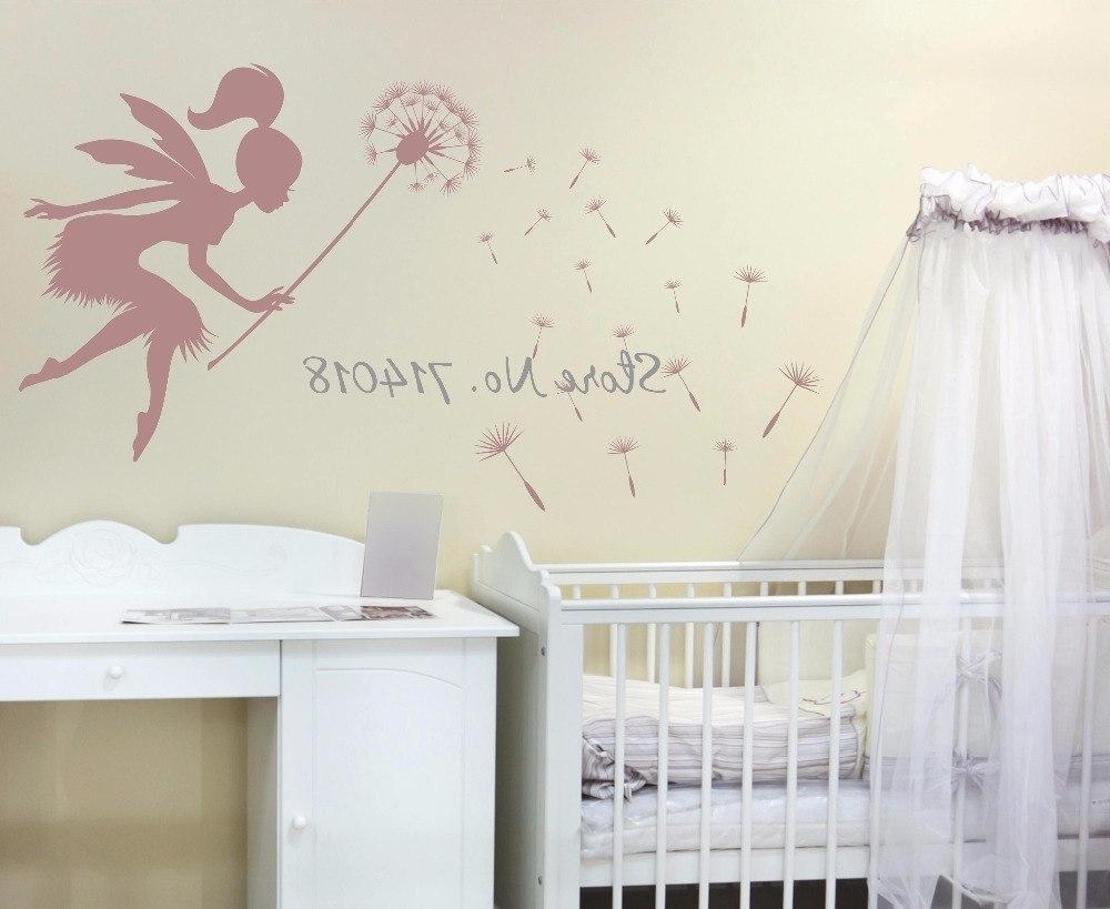 Best And Newest Dandelion Wall Art Regarding Fairy Blowing Dandelions Wall Decal Dandelion Seeds Wall Art Kids (View 2 of 15)