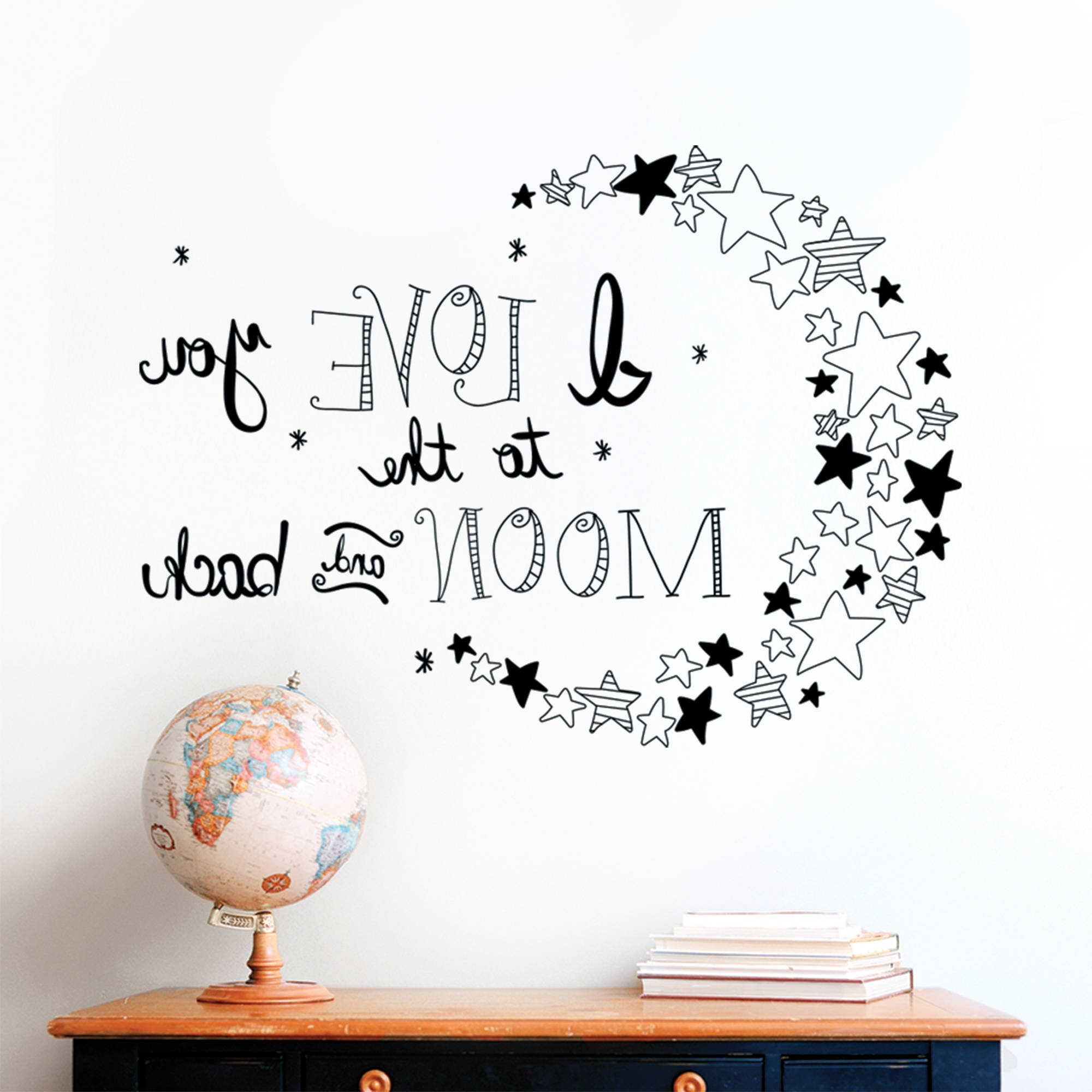 Best And Newest Decal Love To The Moon – Walmart Throughout I Love You To The Moon And Back Wall Art (View 11 of 15)