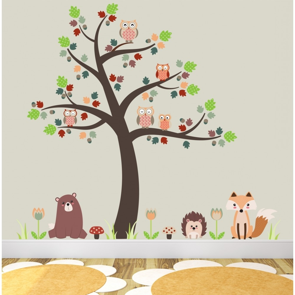 Best And Newest Fox And Owls Nursery Wall Stickers Within Woodland Nursery Wall Art (View 2 of 15)