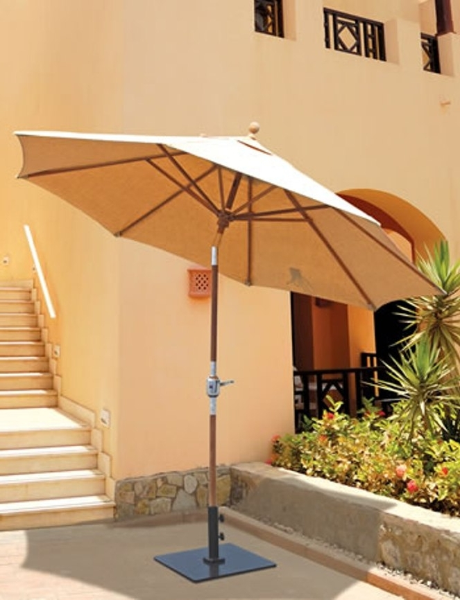 Best And Newest Galtech 9' Teak Wood Rotational Tilt Patio Umbrella With Sunbrella Pertaining To Sunbrella Teak Umbrellas (View 11 of 15)