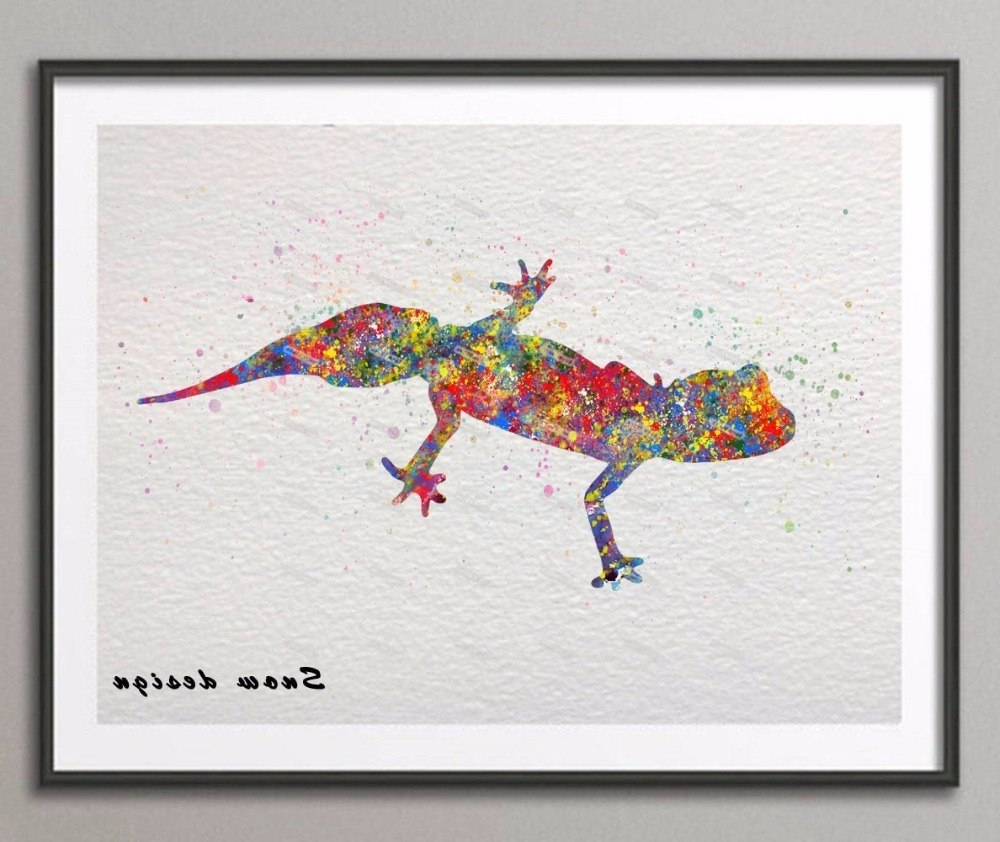 Best And Newest Gecko Canvas Wall Art For Diy Original Barking Gecko Watercolor Canvas Painting Wall Art (View 2 of 15)