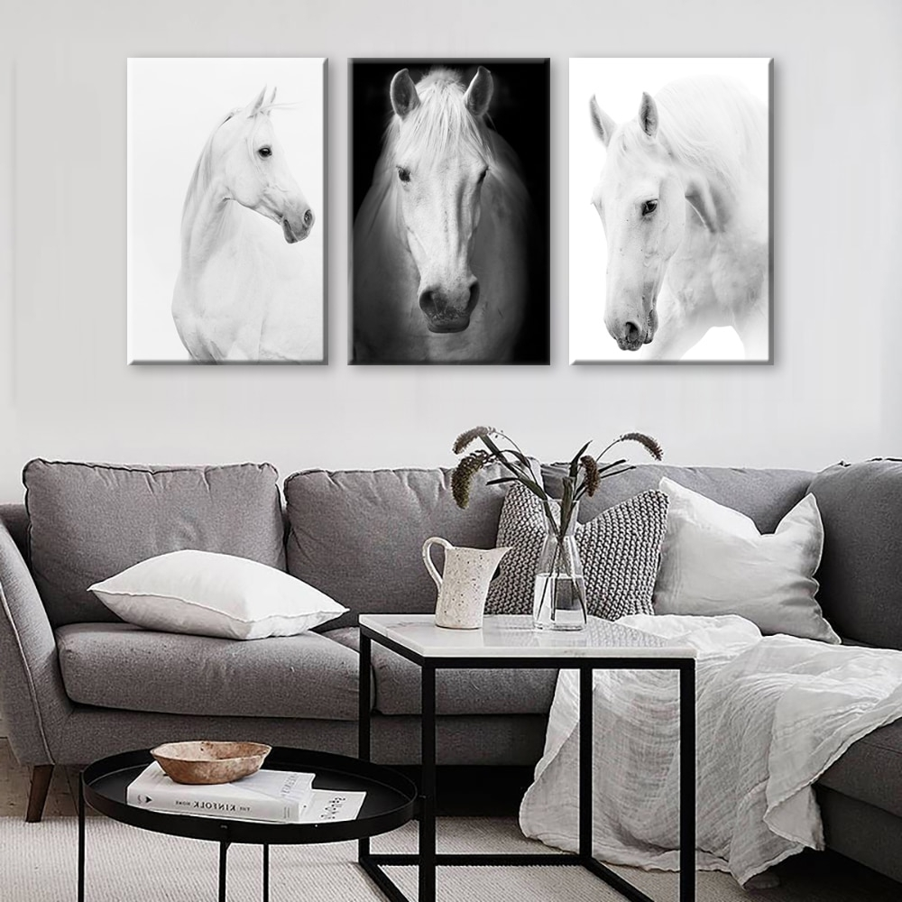 Best And Newest Horse Wall Art With White Horse Wall Art Canvas Prints Modern Art Home Decor For Living (View 6 of 15)