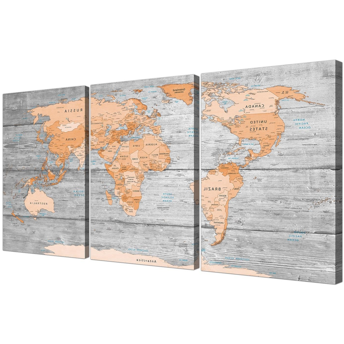 Best And Newest Large Orange Grey Map Of World Atlas Canvas Wall Art Print – Split 3 Inside Oversized Canvas Wall Art (View 9 of 15)