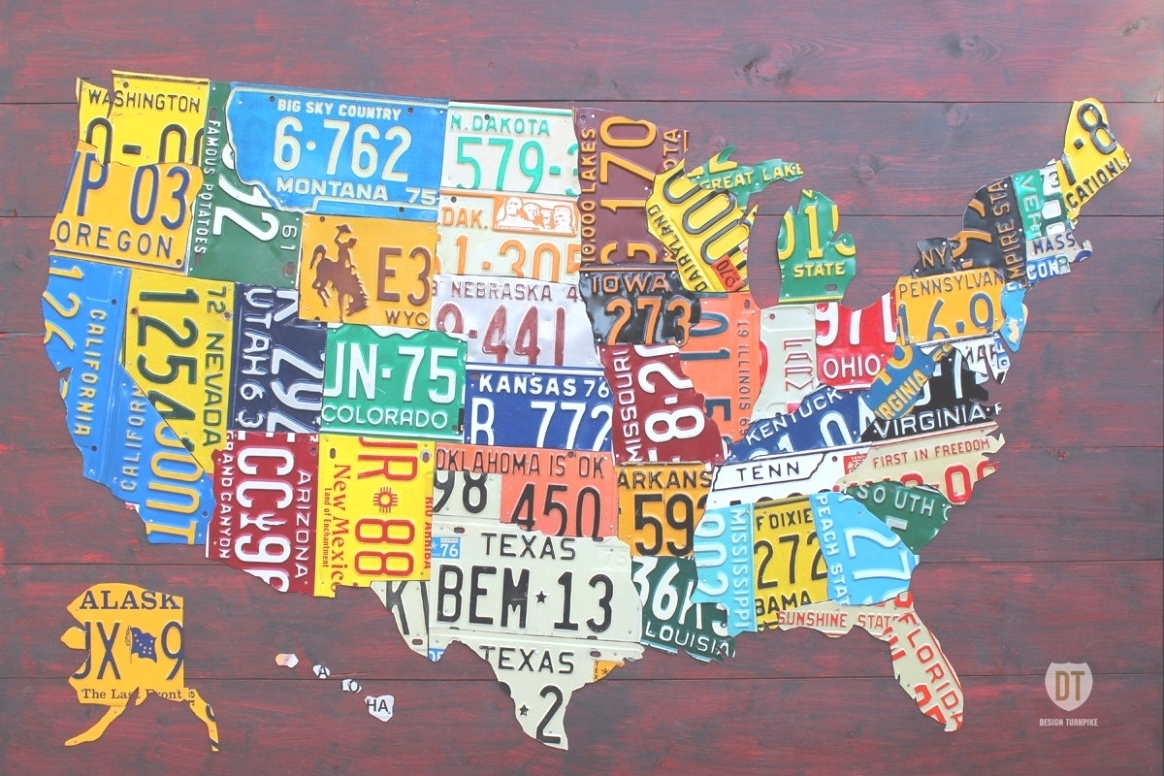 Best And Newest License Plate Map Wall Art Regarding 45 Ideas Of License Plate Map Wall Art Throughout Us Made Plates (View 2 of 15)