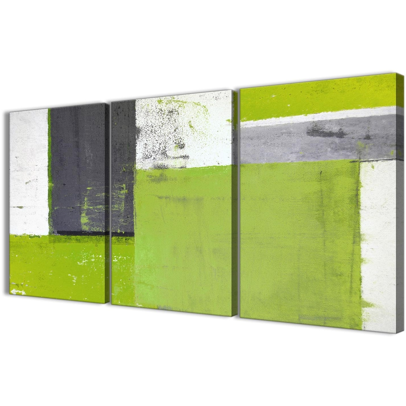 Best And Newest Lime Green Grey Abstract Painting Canvas Wall Art Print – Multi Set Intended For Green Wall Art (View 2 of 15)