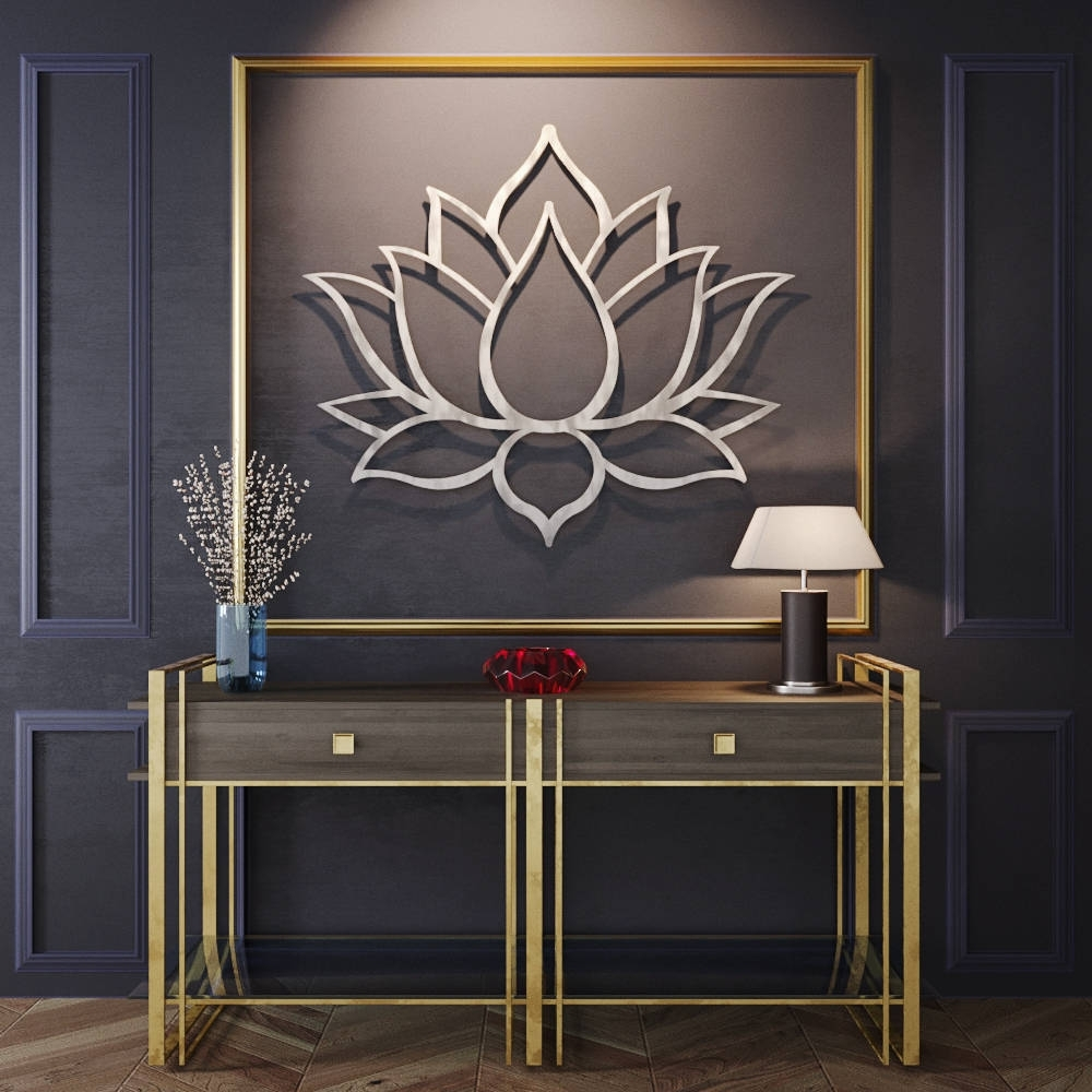 Best And Newest Lotus Flower Large 3D Metal Wall Art, Meditation Wall Art, Modern With Regard To 3D Metal Wall Art (View 11 of 15)