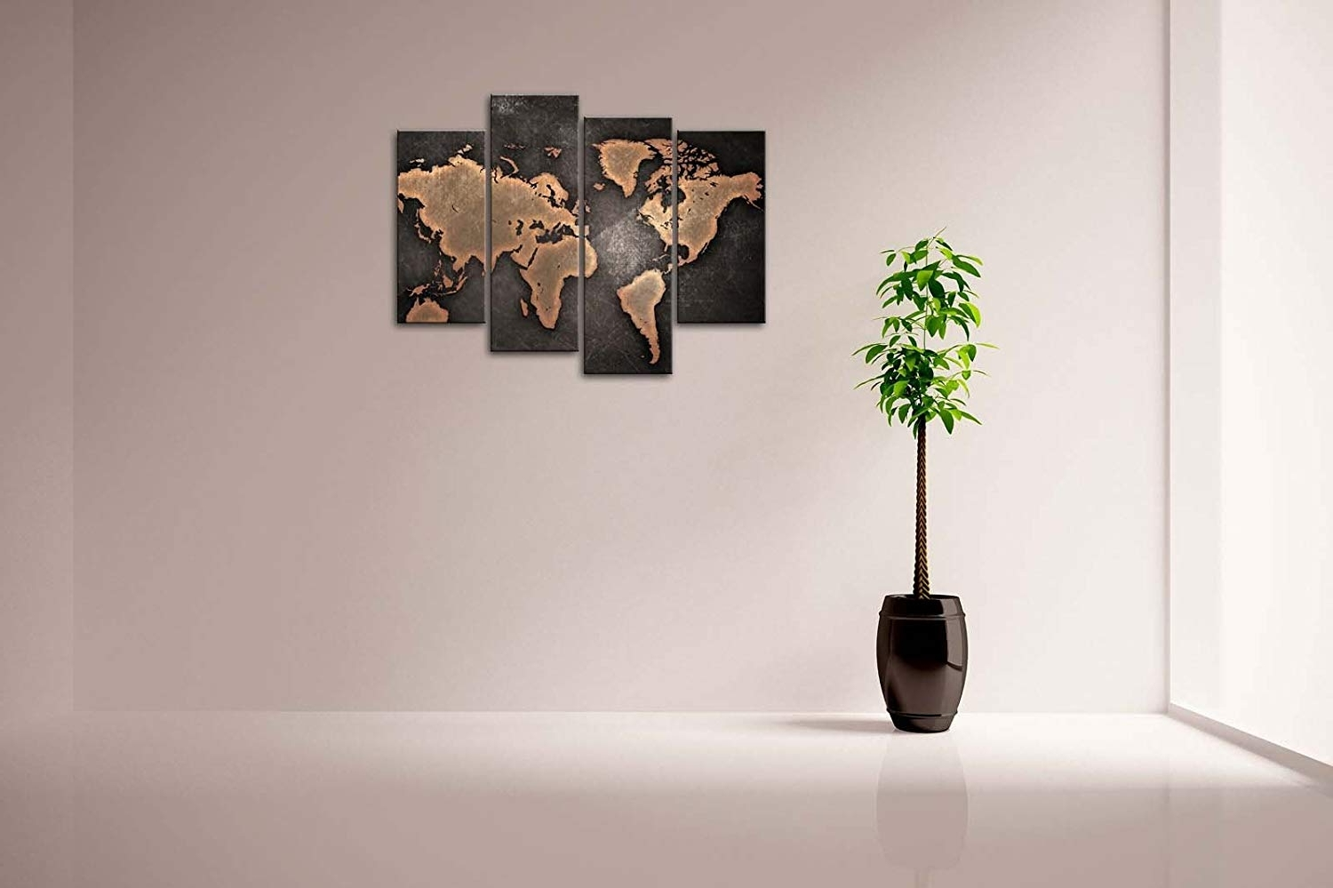 Best And Newest Modern Wall Art With Regard To Amazon: Firstwallart General World Map Black Background Wall Art (View 6 of 15)