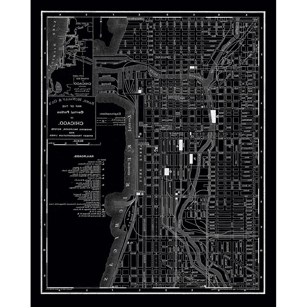 Best And Newest Shop Chicago 1985 Vintage Map Stretched Canvas Wall Art – On Sale With Chicago Map Wall Art (View 13 of 15)