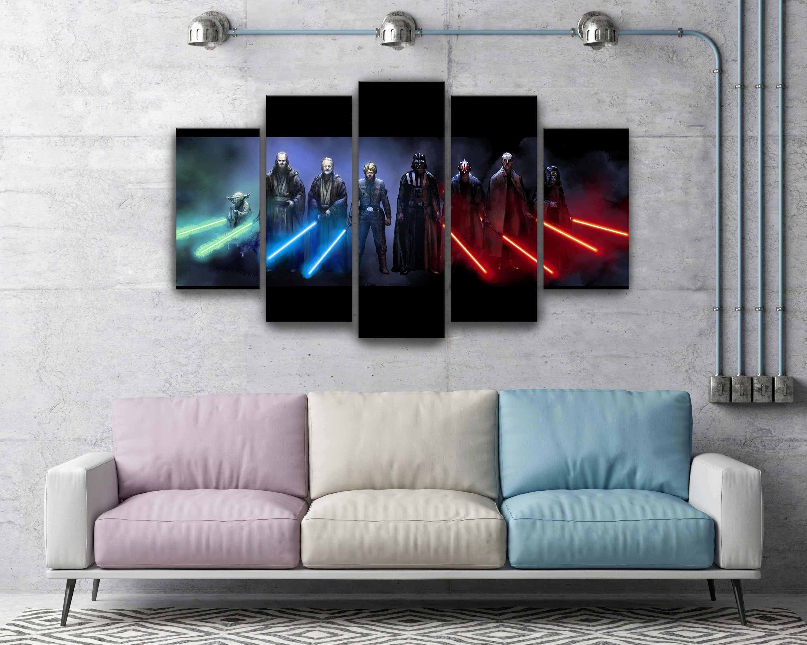Best And Newest Star Wars Wall Art In Star Wars Darth Vader Luke Skywalker Jedi And Sith Lightsaber Canvas (View 10 of 15)