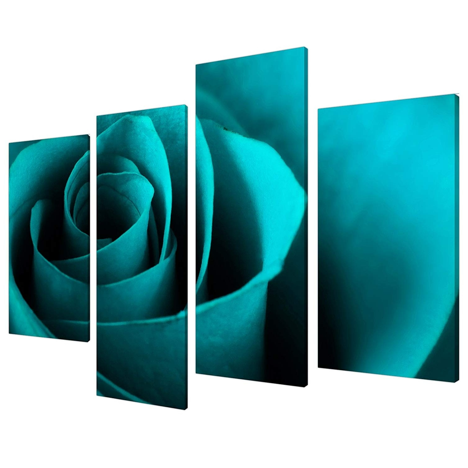 Best And Newest Turquoise Wall Art With Large Teal Turquoise Floral Canvas Wall Art Pictures Xl Prints (View 4 of 15)