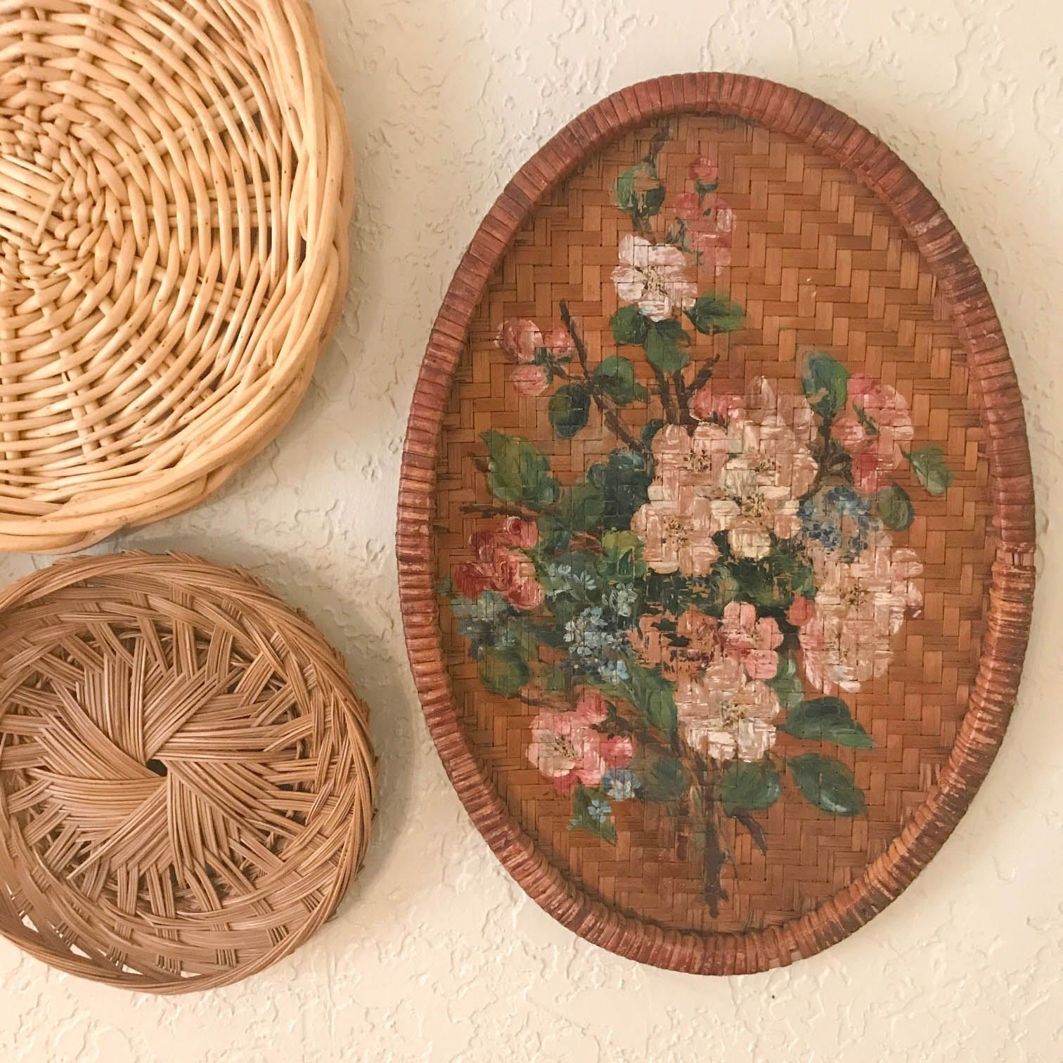 Best And Newest Vintage Wicker Wall Art, Basket Wall Decor, Painted Wicker Wall For Woven Basket Wall Art (View 13 of 15)