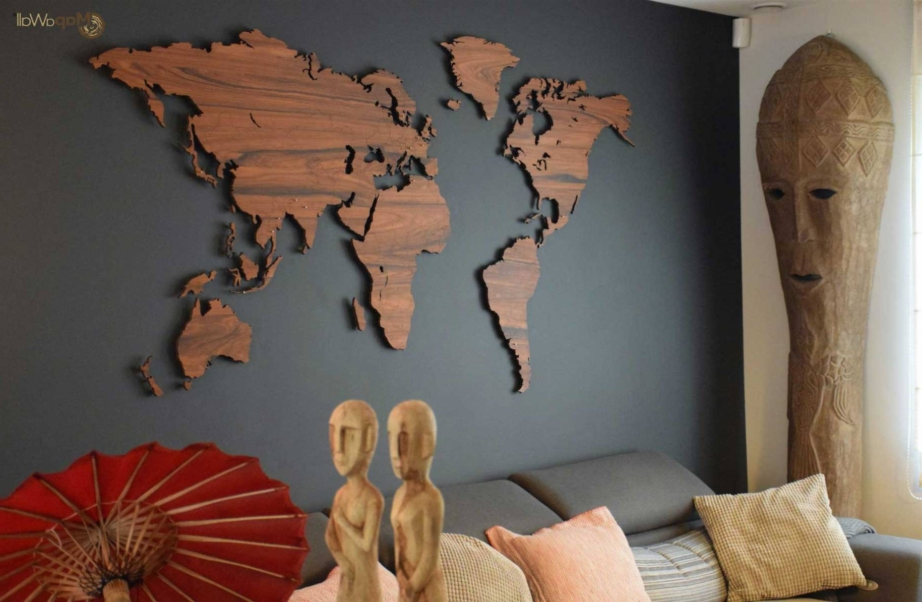 Best And Newest World Map For Wall Art Regarding Mapawall Wooden World Map Palisander With Country Borders Pertaining (View 2 of 15)