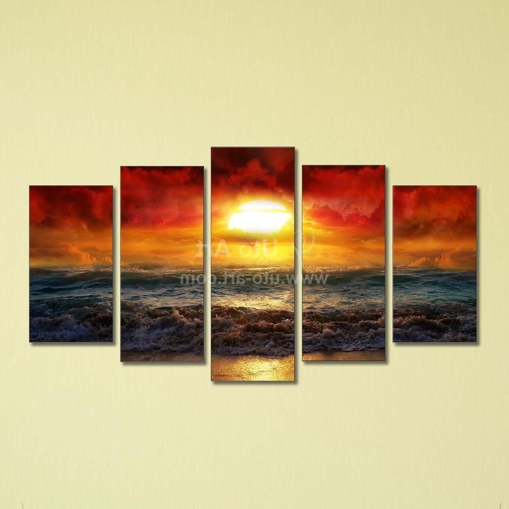 Best Cheap 5 Panel Wall Art Painting Ocean Beach Decor Canvas Prints Inside Current 5 Piece Canvas Wall Art (View 6 of 15)