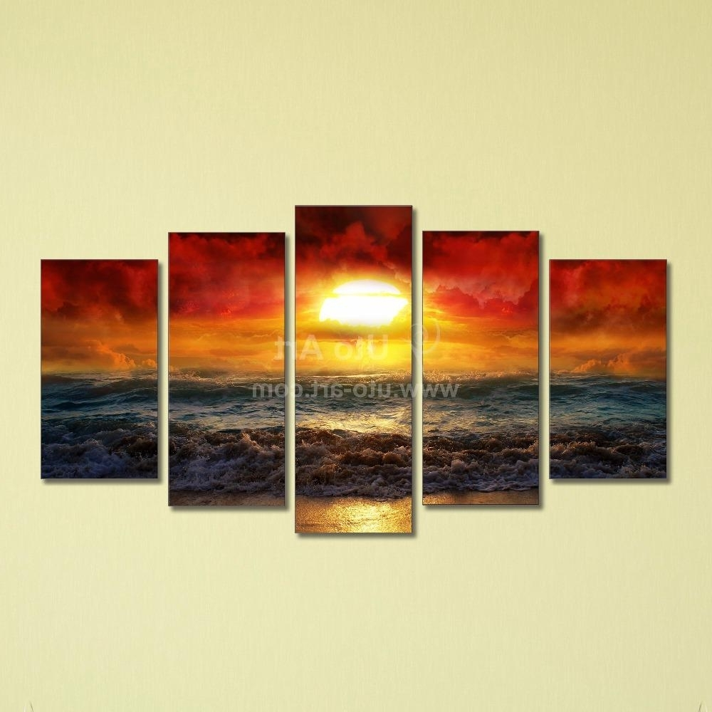 Best Cheap 5 Panel Wall Art Painting Ocean Beach Decor Canvas Prints intended for 2017 5 Panel Wall Art
