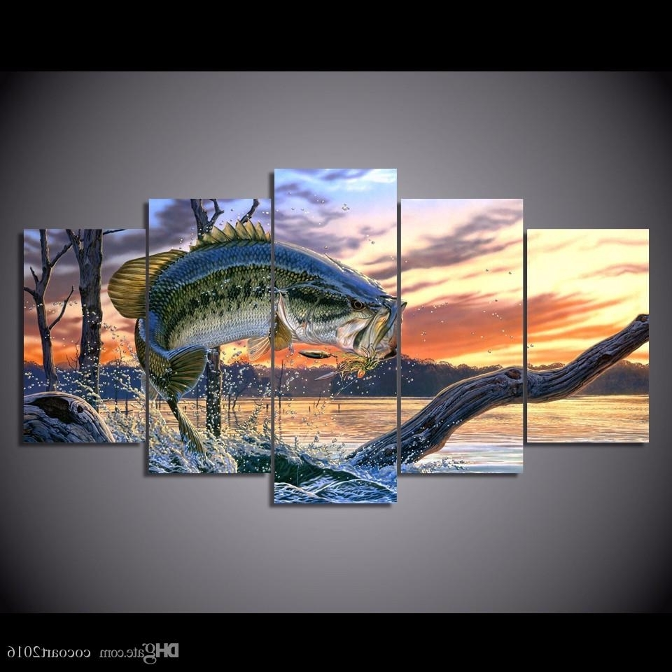 Best Framed Hd Printed Bass Jumping Fish Sunset Picture Wall Art Throughout Most Up To Date Fish Painting Wall Art (View 4 of 15)