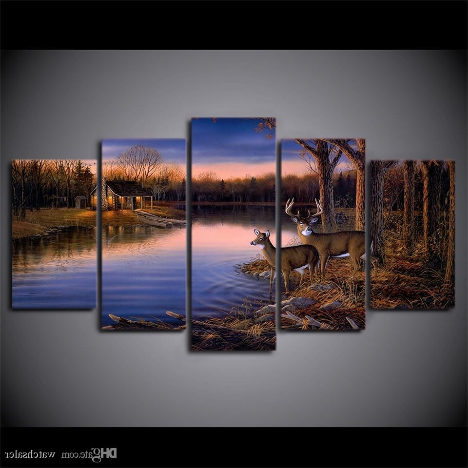 Best Hd Printed Canvas Art Deer Lake Landscape Sunset Painting Within Current Nature Wall Art (View 4 of 15)