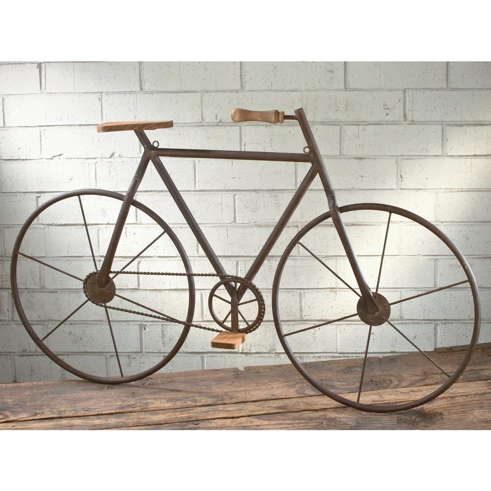 Bicycle Wall Art Within Well Known Metal With Wood Brown Finish Bicycle Wall Art 16465 – The Home Depot (View 2 of 15)