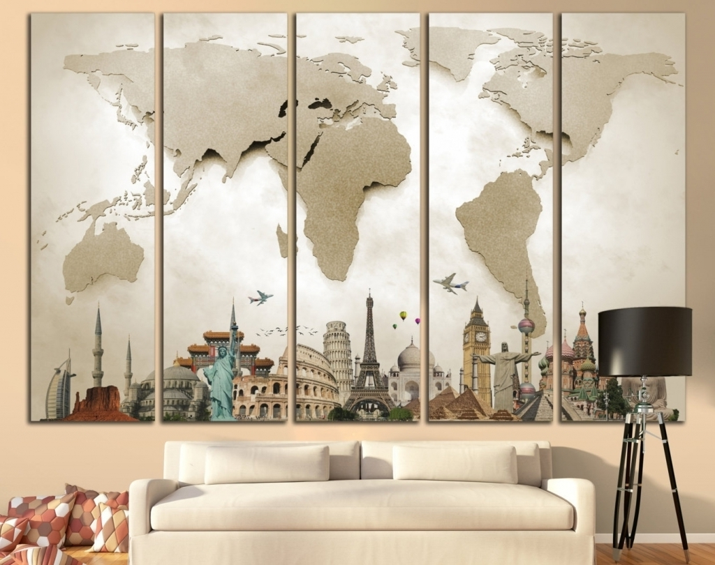 Big Wall Art for Most Recently Released 35 Wall Art For Large Walls World Map Large Print Beige World Map