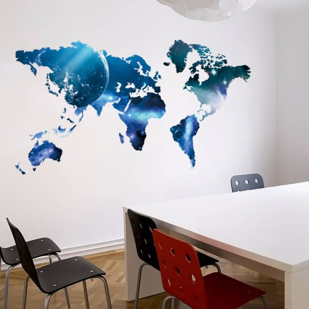 Big World Map Wall Sticker – Mango Rico Pertaining To Recent Wall Art Stickers World Map (View 13 of 15)