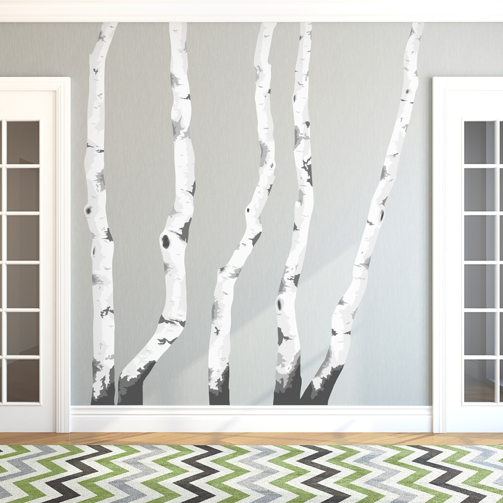 Birch Trees Printed Wall Decal – Gabc In Most Popular Birch Tree Wall Art (View 7 of 15)