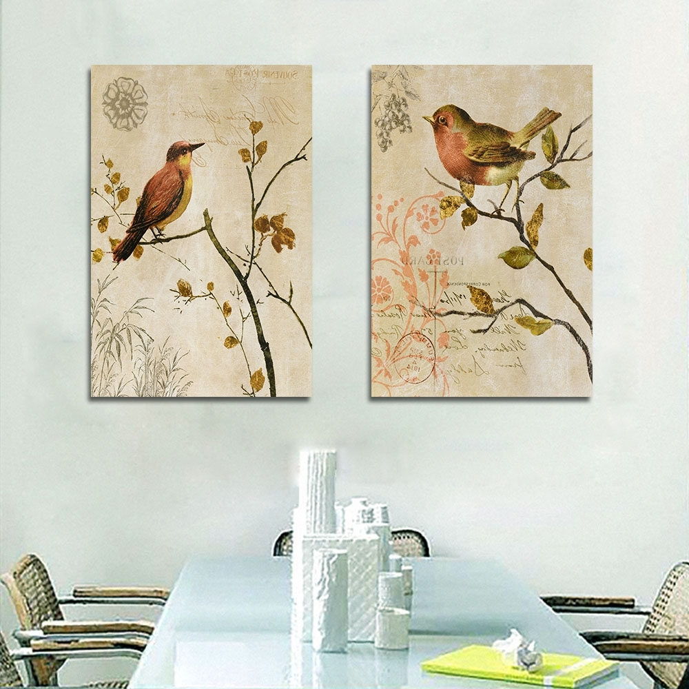 Bird Framed Canvas Wall Art Pertaining To Most Recently Released 2 Panel Animal Canvas Painting Canvas Art Print Poster Canvas Art (View 7 of 15)
