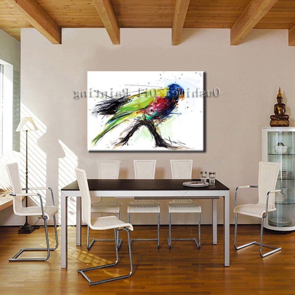 Bird Framed Canvas Wall Art With Regard To 2018 Hand Painted Modern Green Bird Picture On Canvas Wall Art Colorful (View 8 of 15)