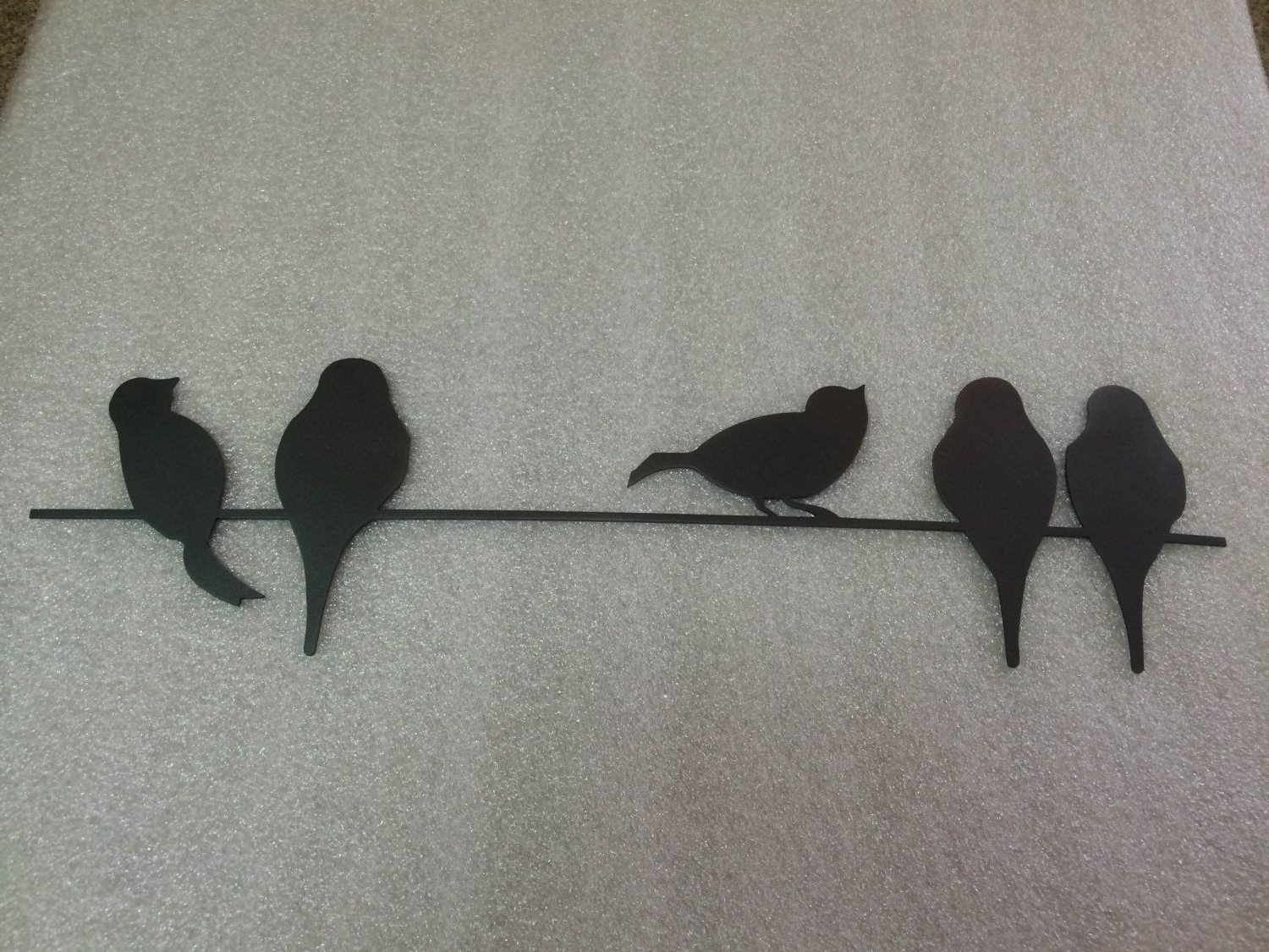 Birds On A Wire Metal Wall Art In Greyetsy Incredible Intended For Most Current Birds On A Wire Wall Art (View 1 of 15)