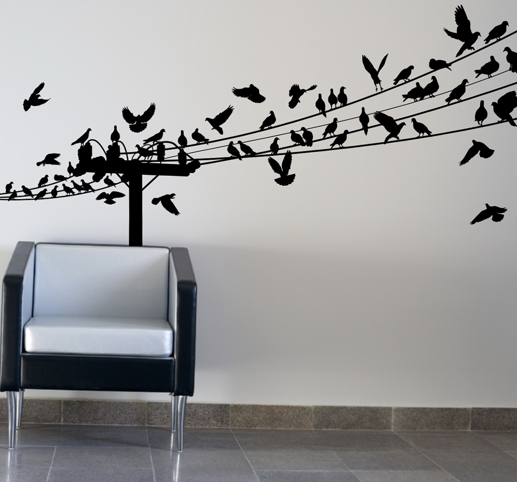 Birds On A Wire Wall Art Intended For Favorite Birds On Wire Wall Art Optimize Every Inch Of Interior With Natural (View 2 of 15)