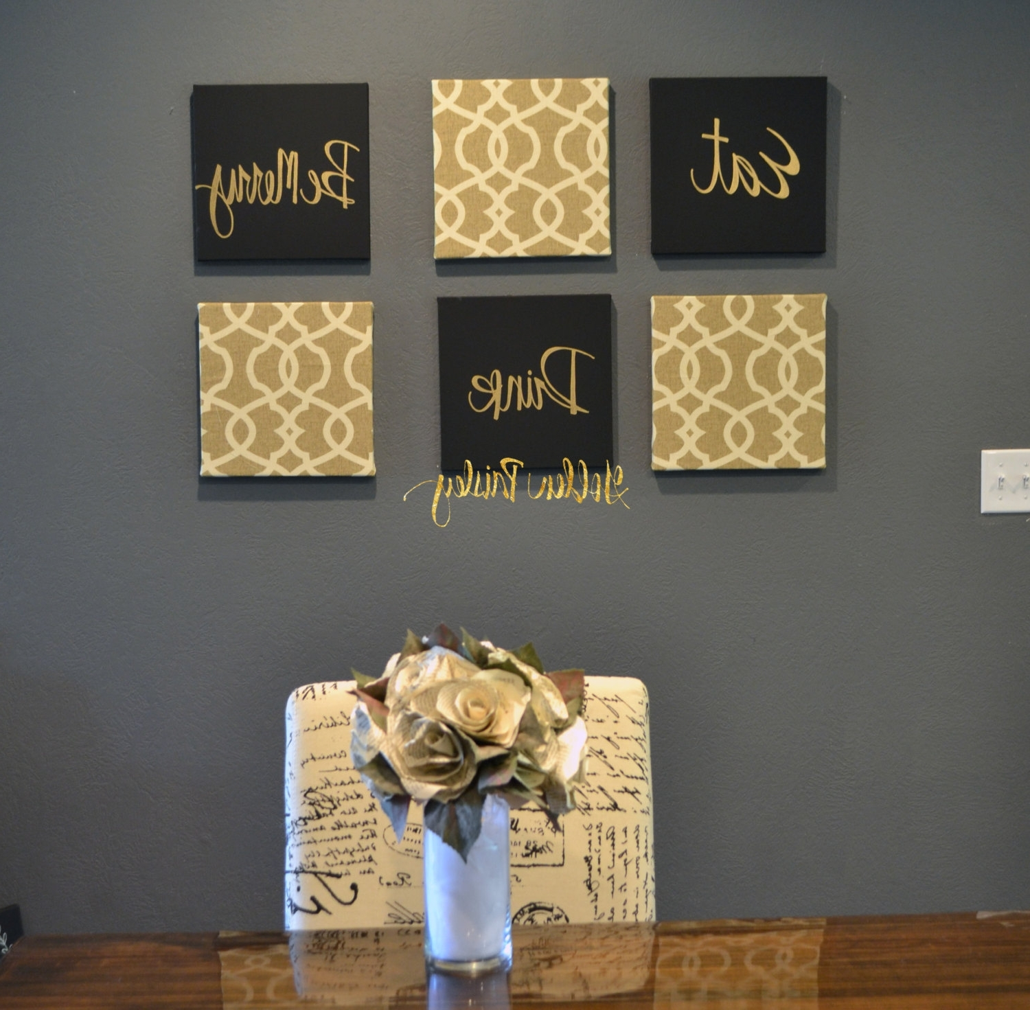 Black And Gold Wall Decor Best Inspirational Art Canvas Painting Throughout Widely Used Black And Gold Wall Art (View 5 of 15)