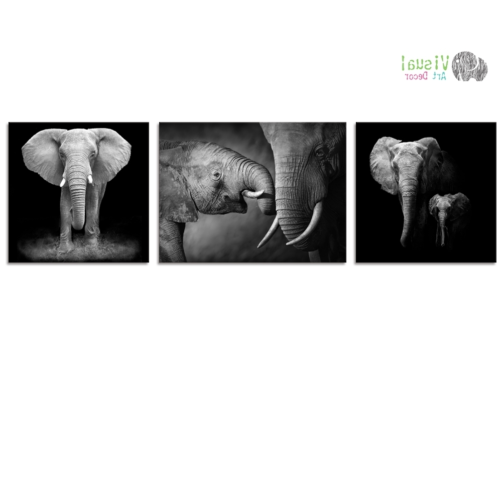 Black And White Canvas Wall Art Decor Animal Canvas Prints Elephant For Favorite Animal Canvas Wall Art (View 5 of 15)