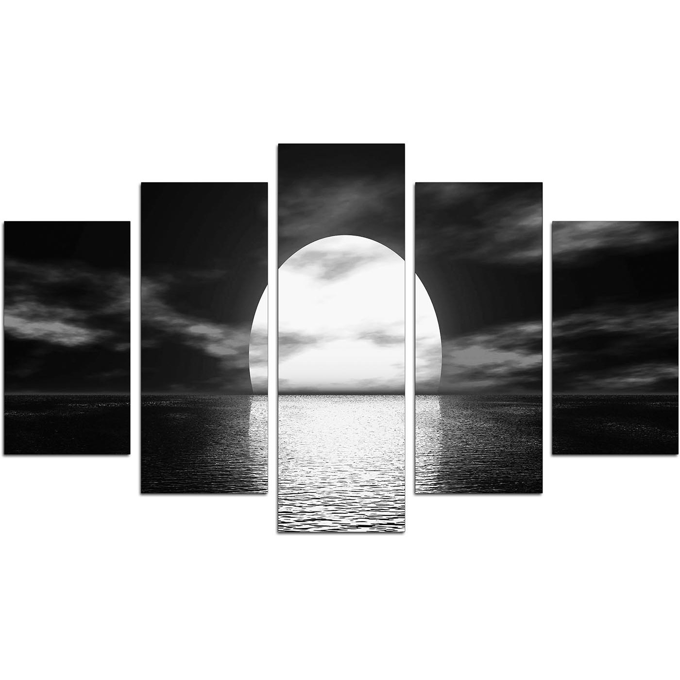 Black And White Large Canvas Wall Art Inside Trendy Extra Large Sunset Canvas Prints Uk Set Of Five In Black & White (View 3 of 15)