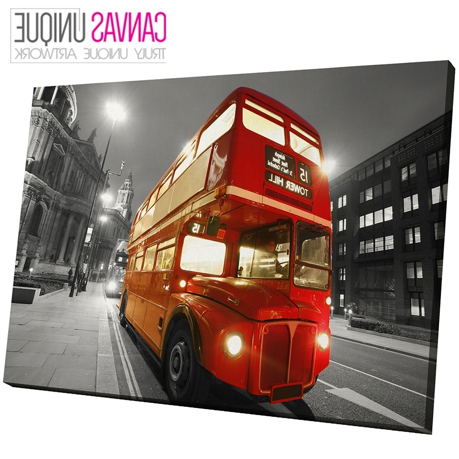Black And White Large Canvas Wall Art Intended For Favorite Sc442 Red London Bus Black White Scenic Wall Art Picture Large (View 15 of 15)